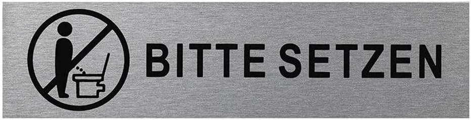Herren eloxiertes Vollmaterial | Oberfl/äche in geschliffener Edelstahloptik selbstklebend T/ürschild 160 x 40 x 1,5 mm aus Aluminium