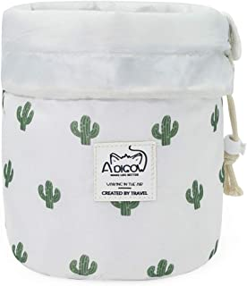 Lazy Cinch Makeup Bag Quick Drawstring Travel Top Compact Cosmetic Organizer for Women Girls White Cactus