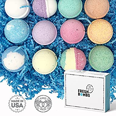 Bath Bombs Gift Set- 12 Aromatherapeutic bombs for Relaxation, Stress Relief – Natural, Fizzy, Essential Oil Infused, Luxuriously Lush Bombs Recipe Handmade in USA
