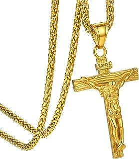GoldChic Jewelry Collana con Ciondolo Croce, Acciaio Inossidabile Oro 18k / Gioielli Cristiani in Oro Rosa, Regalo Chiesa ...