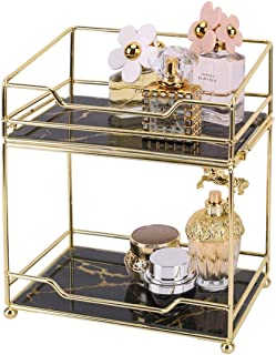Z PLINRISE Makeup Organizer Shelf, 2 Tier Bathroom Vanity Tray for Perfumes, Makeups, Toiletries and Skincare, Multifunctional Cosmetic Storage Rack for Dresser and Countertop
