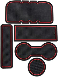 VCiiC Custom Fit Interior Cup Holder Inserts Door Liner Accessories for Toyota Tacoma 2005-2015 5-pc Set (Red Trim)