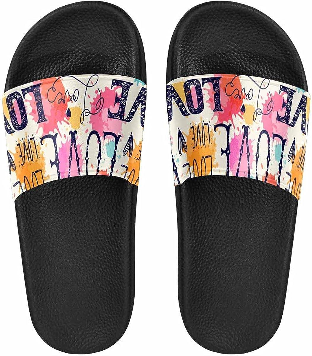 InterestPrint Love Flowers Women's Slide Sandal Light Weight Cozy Outdoor Ladies Shoes
