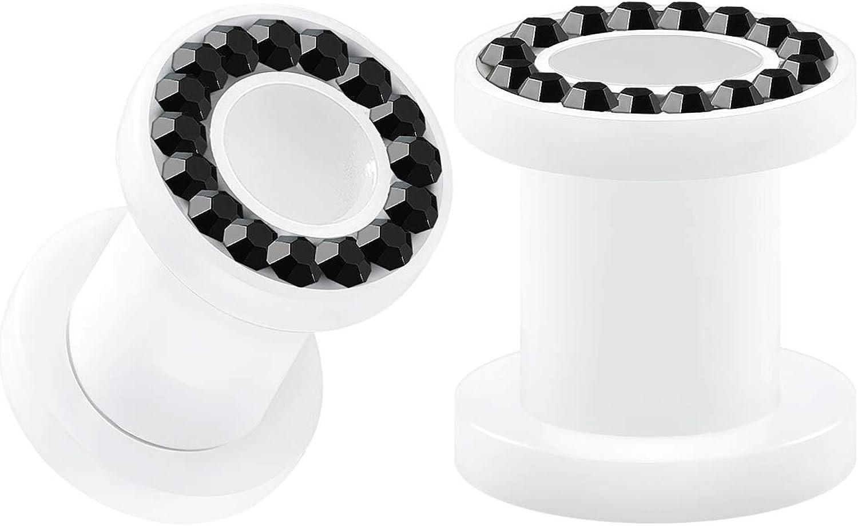 BIG GAUGES Pair of White Acrylic Screw Flesh Tunnels Jet Crystal Piercing Jewelry Studded Rim Stretcher Ear Plugs Earring Lobe