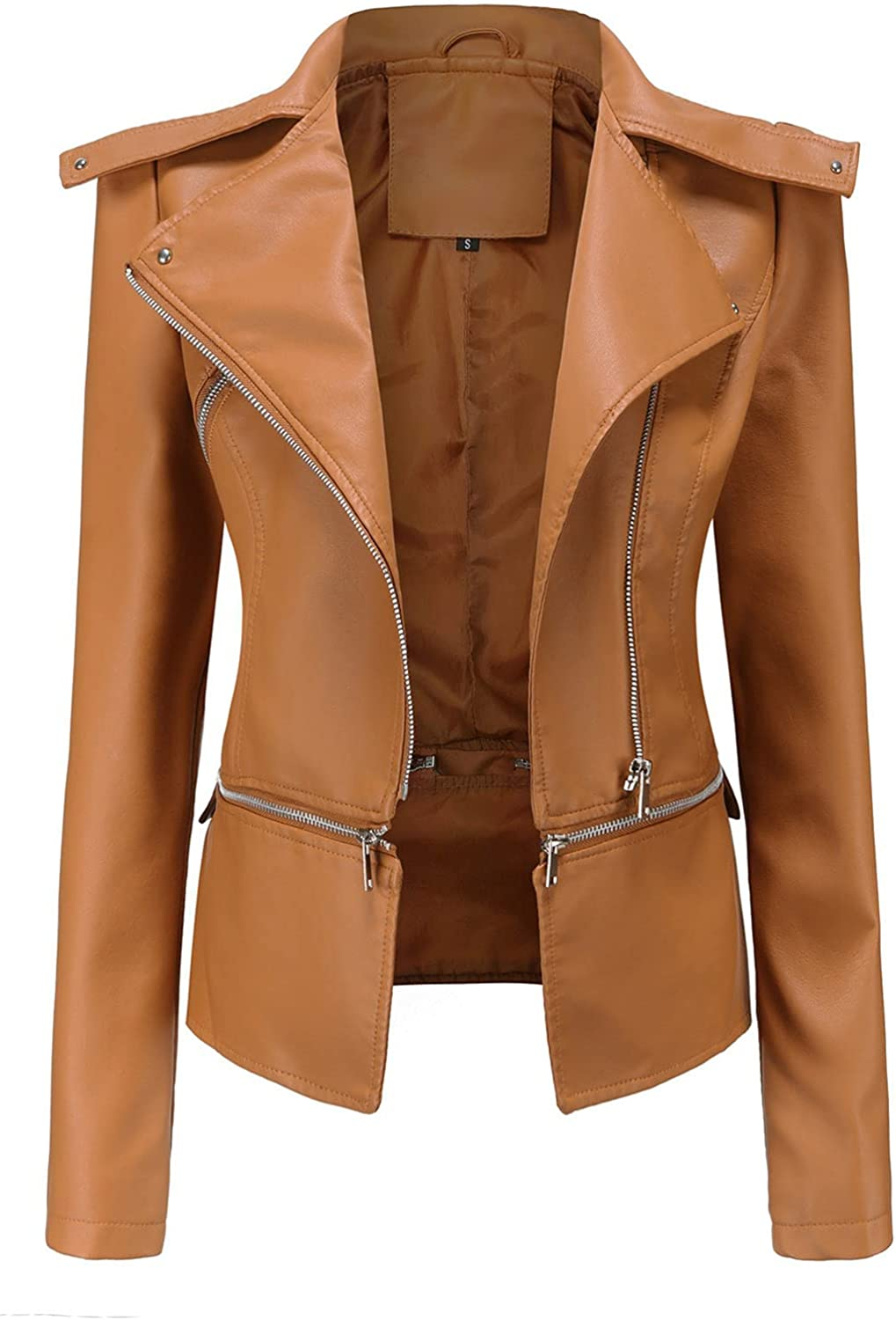 RFNIU Womens Zip Up Faux Leather Jacket Fall And Winter Fashion Motorcycle Lapel Coat Casual Slim Long Sleeve Tops