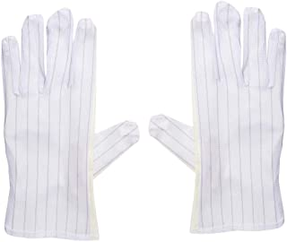 uxcell Anti Static Gloves Full Finger Labor Non-slip Glove for Electronics 230x100mm Light Yellow 5 Pairs