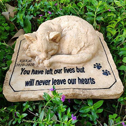 Pet Memorial Piedras para gatos, gato Memorial Stones personalizados lápidas cuenta con un 3-D Gato el dormir en la cima
