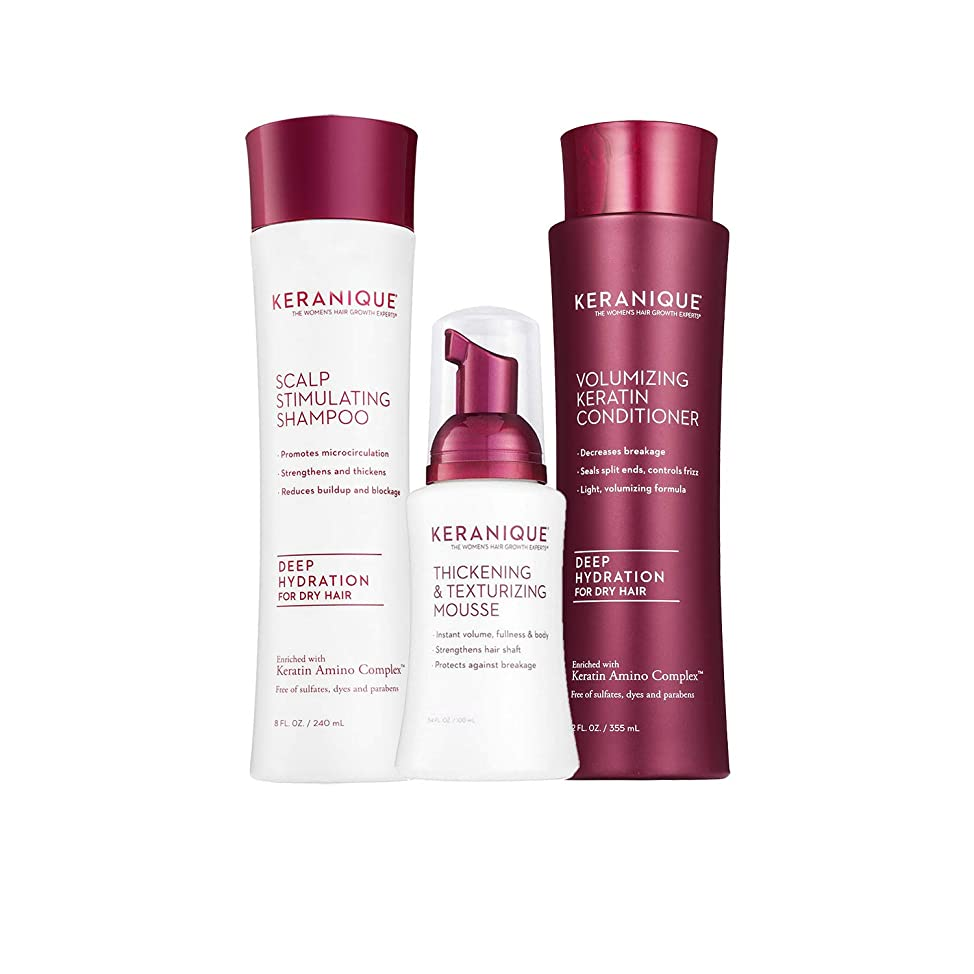Keranique 60 Day Hair Thickening Kit - Deep Hydration | Shampoo, Conditioner, and Texturizing Mousse | Free of Sulfates, Dyes and Parabens | Improves Hair Texture | Maintains Body and Volume