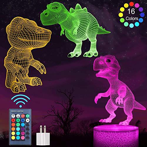 BLOSSOMLIFE 3D Dinosaur nachtlampje voor jongens, 3-patroon met afstandsbediening, 16 kleur veranderende lamp, 3D Dino nachtlampje voor kinderen kamer, Illusie nachtlampje T Rex voor jongens leeftijd 4 5 6+ jaar oud