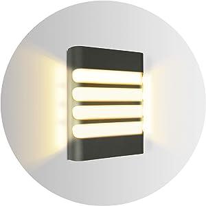 Topmo-plus 12W Lámpara de pared LED OSRAM SMD apliques de pared para interior / exterior impermeable IP65 aluminio / PC Sala de estar / terraza / foco de jardín 3000K blanco cálido 20CM gris