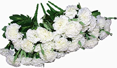 Ieoyoubei 4 Bunches Bouquet of Artificial Silk Flower Best White Carnations11 Bouquet and Green Leaf for Home Decoration Bridal Wedding Festival Decoration with 10 Per Bunch Flower