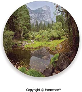 Small Spring Forest Distant Mountain Picture of Yosemite National Park Landscape Print,Cup Coasters With Anti Scratch Cork Back Green,3.9×0.2inches(4PCS),Great Gift For Unisex Adults Teens