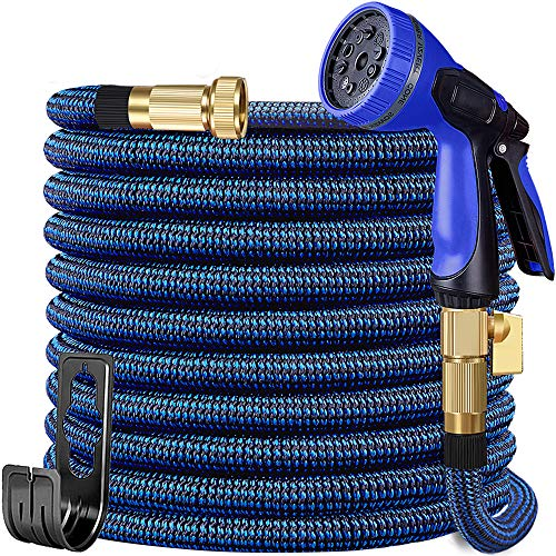 50ft Garden Hose Expandable Water Hose with 10 Function Nozzle, Leakproof Expanding Flexible Outdoor Yard Hose with Solid Brass Fittings, Extra Strength 3750D Durable Car Wash Hose Pipe