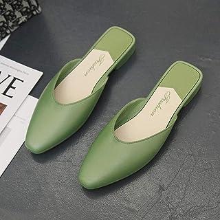 COQUI pantofol, Baotou semi-slip schoenen vrouwelijke lage hak met een woord gladde platte damesschoenen-green_36