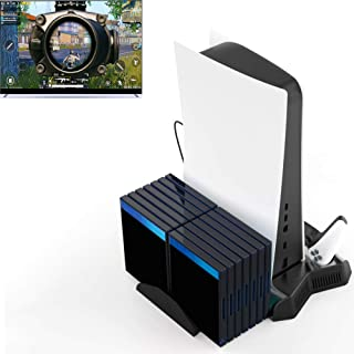 Multifunctional Dual Controller Charger Fan Cooling Game Storage Stand with 3 USB HUB for Playstation 5 PS5