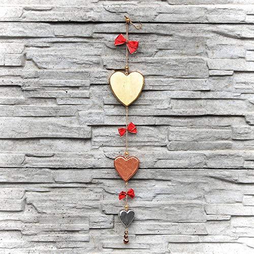 Choralis Holz-Girlande mit Herzen, Rot
