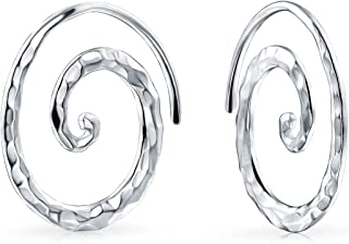 Boho Geometric Tribal Swirl Hammered Wire Spiral Hoop Threader Earrings For Women For Teen 925 Sterling Silver
