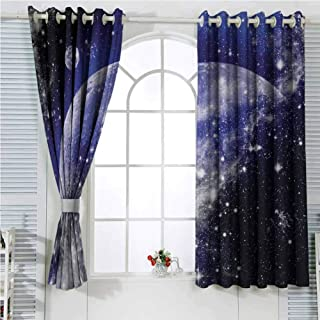 Galaxy Nebula Full Moon Phase Starry Night Sky Universe Infinity and Space in Apartment Decor for Dorms Blue Navy White Rustic Curtains for Living Room Living Room Decor Blackout Shades W62 x L72 Inc