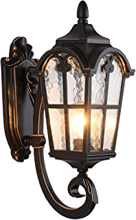 LONEDRUID Led Outdoor Wall Light Fixtures Black Roman Exterior Wall Lantern 17.71