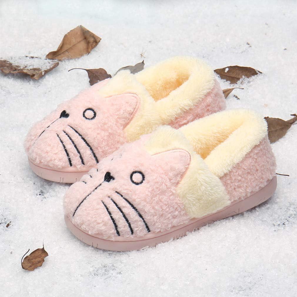 KVbabby Hausschuhe M/ädchen Pantoffeln Pl/üsch Jungen Baumwolle Pantoffeln Kinder W/ärme Katze Weiche Hausschuhe Damen Winter Cartoon Leicht rutschfeste Slippers