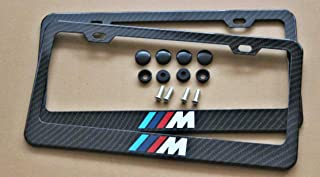 Armertek M -Tech Sport Logo M M2 M3 M4 M5 M6 E46 E92 E9X F8X E8X Carbon Fiber-Look License Plate Frame Cover Stainless Steel Black for MW (2)
