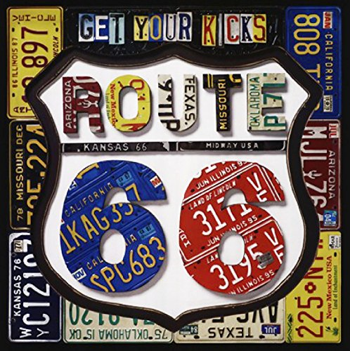 """Custom & Cool {3.5"""" Inches} Set Pack of 4 Square """"Grip Texture"""" Drink Cup Coasters Made of Flexible Poly Fabric w/ Rubber Bottom & License Plate Route 66 Design [Colorful Black, Yellow, Blue & Red]"""