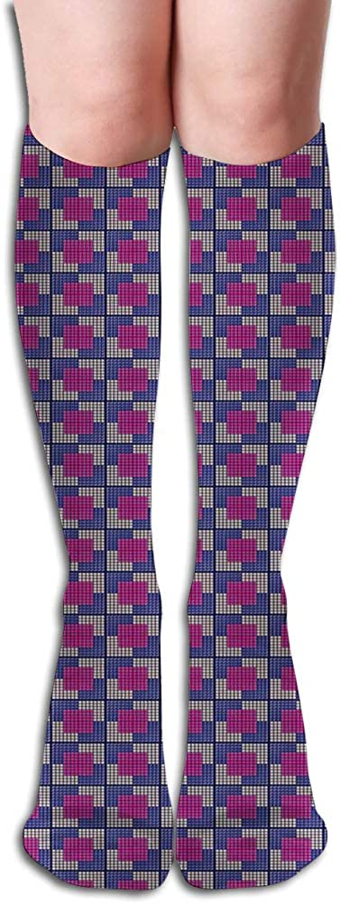 Men's and Women's Funny Casual Combed Cotton Socks,Fractal Video Games Style Little Squares Mosaic Fantasy Graphic