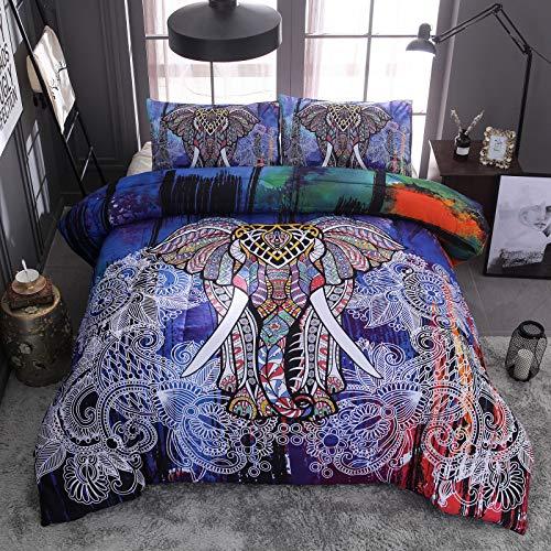 Luxton Bohemian Elephant Duvet Cover Set, 3 Piece Blue Exotic Boho Comforter Cover Set 1 Quilt Cover 2 Pillowcases (Queen Size)