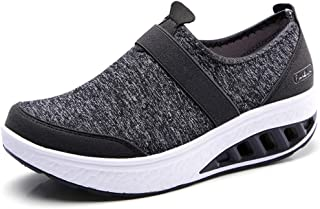 Womens Comfortable Walking Shoes Fashion Slip On Sneakers Platform Wedge Mesh Loafers Shoes