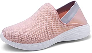 Shangruiqi Athletic Shoes for Men Cozy Breathable Mesh Upper Running Walking Casual Fashion Sneakers Flat Slip-on Round Toe Anti-Slip Lightweight Anti-Wear (Color : Pink, Size : 2.5 UK Child)