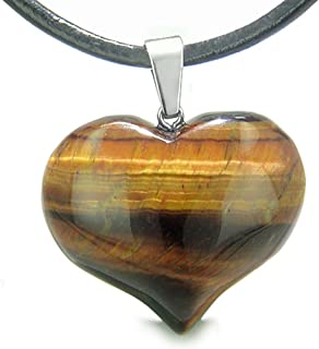 Amulet Large Puffy Heart Red Tiger Eye Evil Eye Protection Leather Pendant Necklace