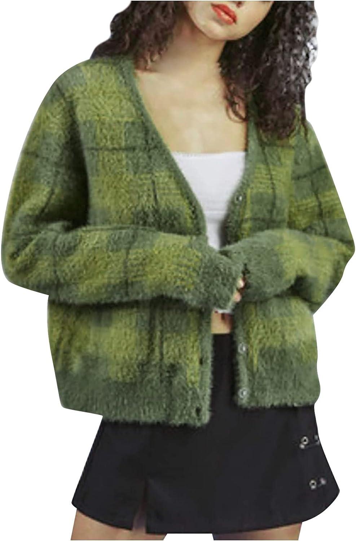 Y2k Button Plaid Mink Knit Cardigan Retro Sweater V-Neck Female Harajuku