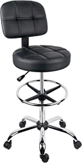 Leopard Round Drafting Chair, Adjustable Swivel Tall Drafting Stool Office Chair for Standing Desk, with Back and Footring - Black