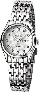 WWOOR Women's Silver Bracelet Stainless Steel Wrist Watch Ladies Date and Week Watches