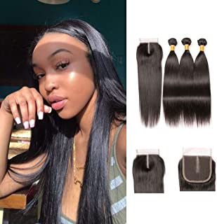 Brazilian Virgin Hair Straight Wave 3 Bundles With Closure Natural Color Silky Straight 100% 9a Human Unprocessed Hair And Middle Part Closure 20 22 24 + 18 inches