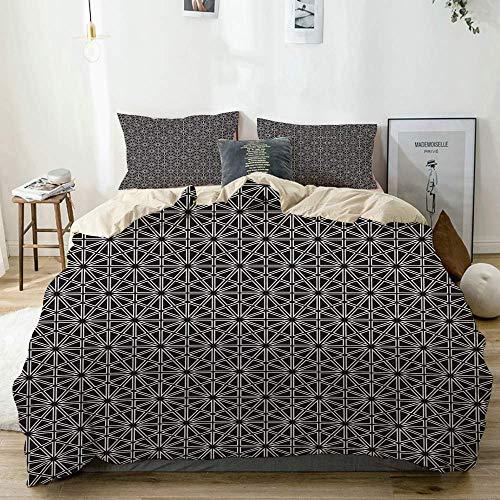 Juego de funda nórdica beige, hexágonos, cuadrados y rayas formando estrellas, azulejos que se repiten, juego de cama decorativo de 3 piezas con 2 fundas de almohada, fácil cuidado, antialérgico, suav