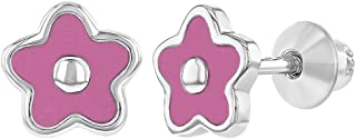 925 Sterling Silver Pink Enamel Flower Earrings Screw Back Baby Girls 6mm