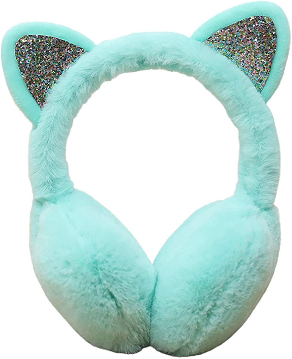 LKXHarleya Creative Winter Warm Cat Ear Muffs Women Girls Furry Faux Fur Cute Animal Earmuffs Headband