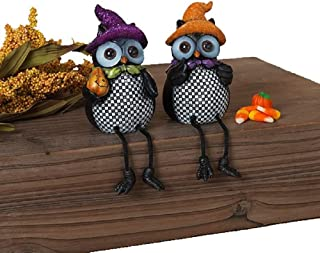 Gerson Checkered Owls with Glitter Hats Fall Shelf Sitter Figurines - Set of 2