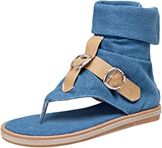 KemeKiss Women Split Toe Sandals T-Strap Sandals Denim