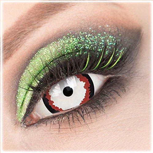 Farbige schwarze rote 'Minotaur' Mini Sclera Kontaktlinsen ohne Stärke 1 Paar Crazy Fun 17 mm mit Behälter zu Fasching Karneval Halloween - Topqualität von 'Giftauge'
