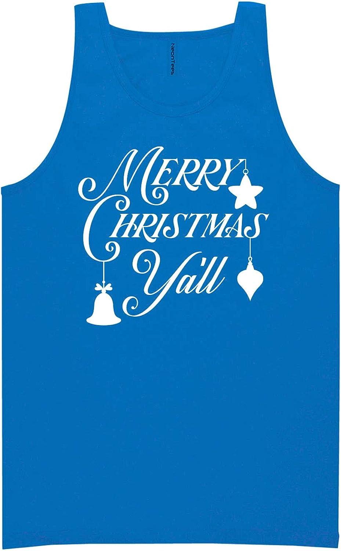 zerogravitee Merry Christmas Y'all Neon Blue Tank Top - XX-Large
