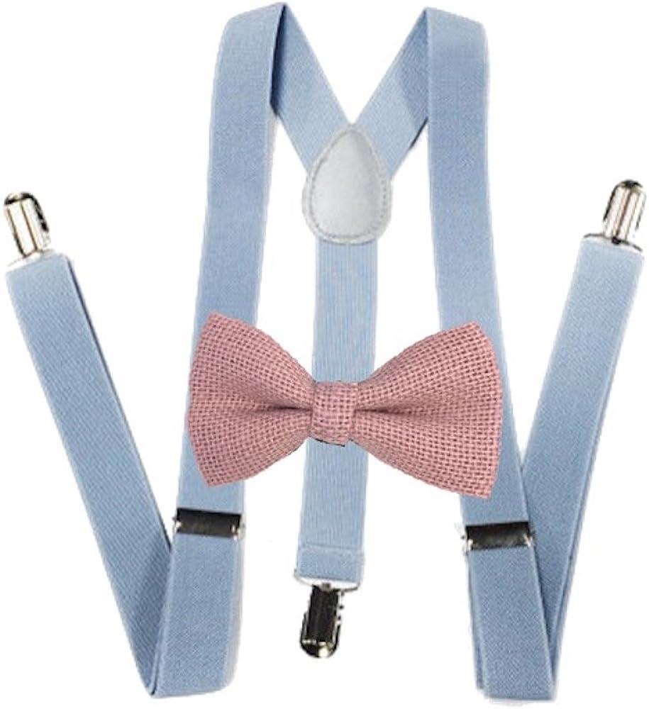 Burlap Bow ties and light gray suspenders Set Combo Mens