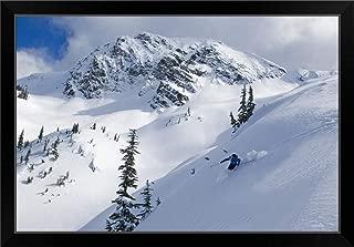 CANVAS ON DEMAND Skier Shredding Powder Below Nak Peak, Cascade Mountains, BC, Canada Black Framed Art Print, 33.