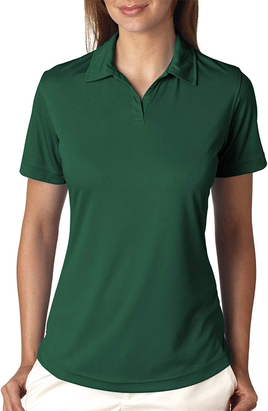 UltraClubs Women's Cool & Dry Sport Performance Interlock Polo, Forest Green, Large