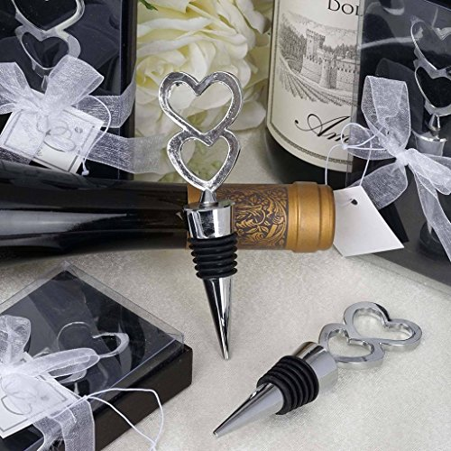 BalsaCircle 50 Silver Double Heart Shaped Bottle Stoppers Bridal Favor Gift - Wedding Party Event Home Decorations Supplies