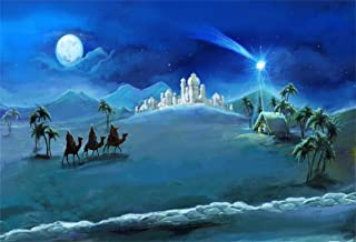AOFOTO 7x5ft Christmas Background Holy Family and Three Kings Photography Backdrop Xmas Moon Night Fairy Tale Holiday New Year Photo Studio Props Kid Child Boy Girl Artistic Portrait Party Wallpaper