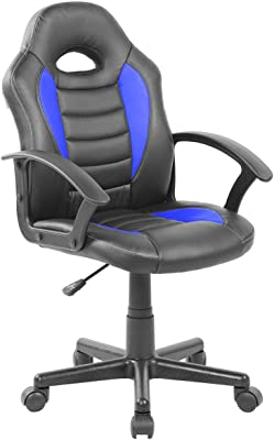 Techni Mobili Kid's Gaming and Student Racer Chair with Wheels, Blue