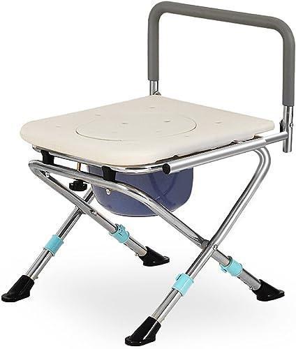 PIGE Invalidité Pliable de Toilette de Chevet d'acier Inoxydable avec Le Haut Chargement Facile (Couleur   with backrest)