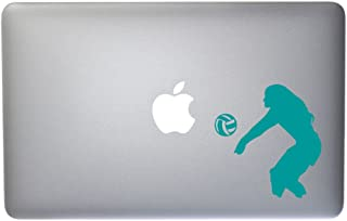 Womens Beach Volleyball Vinyl Decal for MacBook, Laptop or Other Device 5 Inch (Turquoise)